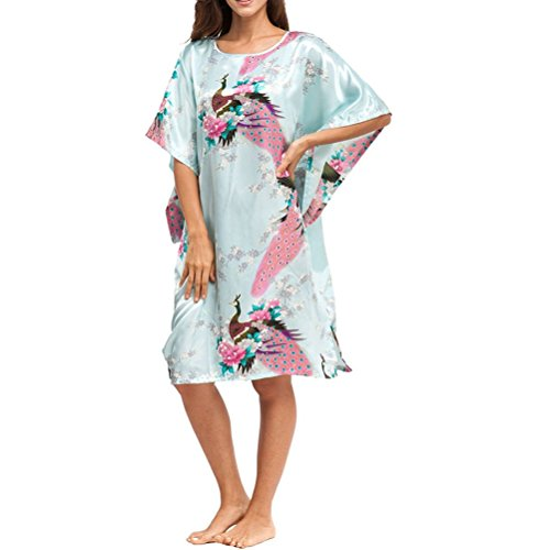 Laixing Haute Qualité Women Short Sleeve Loose Soft Nightgown Yukata Robe Sleepwear One Size CL-WQ1 Light Blue