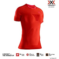 X-Bionic Invent Run Speed Short Sleeve Shirt, Hombre, Sunset Orange/Neon Flamingo, XL