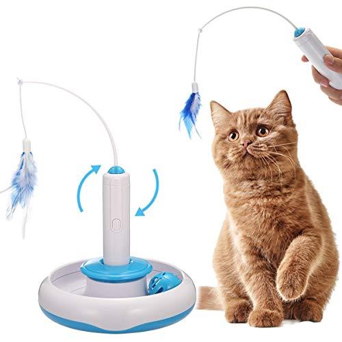 OIZEN Katzen Federspielzeug, Elektrische Interaktive Spielzeug Katze 360°Drehen Feder Spielzeug Katzenspielzeug Federangel Interaktives Katzenspielzeug mit Antirutschem Base