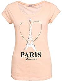 SUBLEVEL Damen T-Shirt mit Wendepailletten PARIS | Elegantes Basic Shirt aus hochwertigem Jersey Material