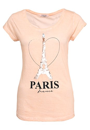 Sublevel Damen T-Shirt mit Wendepailletten Paris | Elegantes Basic Shirt aus Hochwertigem Jersey Material Light Orange XL (Damen 17 T-shirt Light)