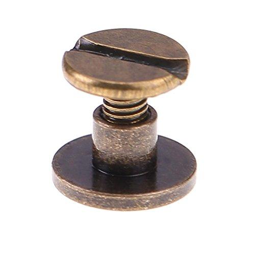 vanpower 20 Stück Kupferbindung Chicago Bolzen Schrauben, Flachgürtel Solide Nagel Nieten für DIY Leder Handwerk Dekoration Buchbindung, Kupfer, Bronze, 5 mm