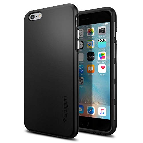 Spigen SGP11732 Thin Fit Hybrid Kompatibel mit iPhone 6S Plus Hülle, Premium Hart-PC Schlanke Schutzhülle für iPhone 6/6S Plus Case Schwarz (6 Iphone Schutzhülle Fall Hybrid)