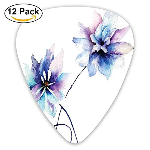 Flower Drawing With Soft Spring Colors Retro Style Floral Artwork Guitar Picks 12/Pack Medium Soft Case