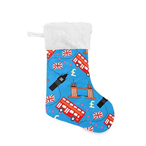 Vipsa Weihnachtsstrümpfe London Buildings and Items, 1 Packung, 45 cm, hängende Strümpfe für Weihnachtsdekoration, Multi, 2er-Pack
