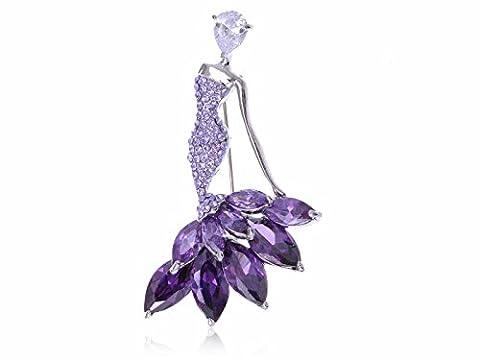 Costumes De Danse Rhinestone Designs - Alilang Broche Argenté Violette Strass pour Robe