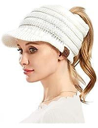 VAMEI Mujer Sombreros de Invierno Beanie Gorro de Punto y el Agujero Knit  Ponytail Beanie Cálido 23bf3393cd0