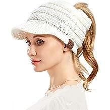 VAMEI Mujer Sombreros de Invierno Beanie Gorro de Punto y el Agujero Knit  Ponytail Beanie Cálido fdaa0f1d9aa