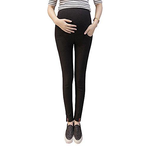 XFentech Bauch Unterstützung voller Knöchel Länge über Mutterschaft Leggings Hosen, Schwarz (Mutterschaft Voll Strumpfhose Länge)