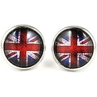 """kleine Ohrstecker """"Vintage Union Jack"""" von SCHMUCKZUCKER Ohrringe silberfarben England Flagge UK britisch 12 mm"""