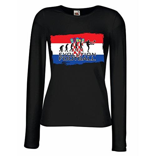Weibliche langen Ärmeln T-Shirt Evolution Football - Croatia (Large Schwarz Mehrfarben) (Flag Chad T-shirt)