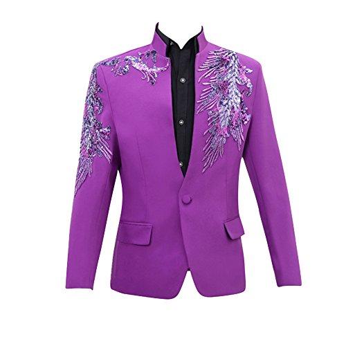 Judi Dench@ Giacche da uomo slim fit tagliare lucido Flash Design Tuxedo Wedding Party 02 Porpora