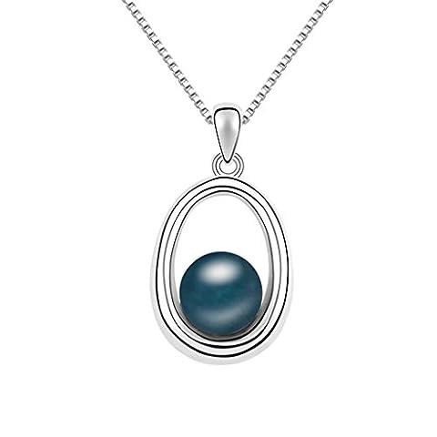 KnSam Collier Femme Alliage Pendentif Oval Perle Bleu foncé [Collier Fantaisie]
