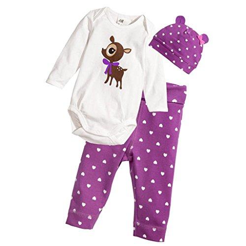 Netten Neugeborenen Jungen langarm Spielanzug Overall Outfits Baby Mädchen Dreiteiligen Anzug Hirsch - Deer, 80cm