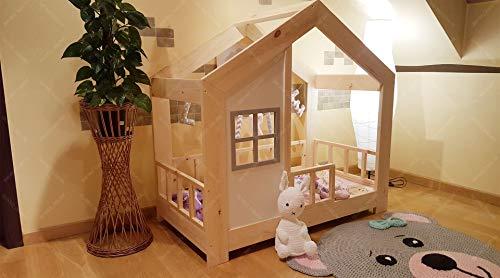 Oliveo HAUSBETT KINDERHAUS Bett für Kinder,Kinderbett Spielbett mit SICHERHEITSBARRIEREN (200 x 90 cm, Naturholz)