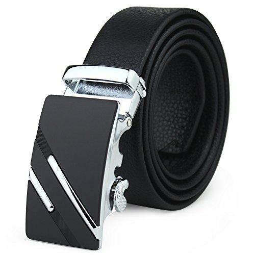 Magic Zone Herren Gürtel Gr. Einheitsgröße, schwarz 2 (Leather Woven Belt Black)