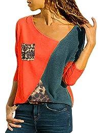 Innerternet Femmes Casual Lache Col en V Asymétrique T-Shirt Manches Longues  avec Patchwork Bloc a77fda87588e