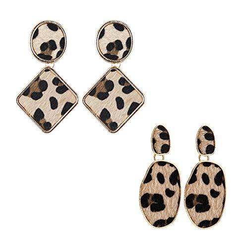 ie Ohrringe Geometrieform Ohrringe Mode Leopardenmuster Ohrschmuck 2 Paar Pack Ohrringe für Frauen ()