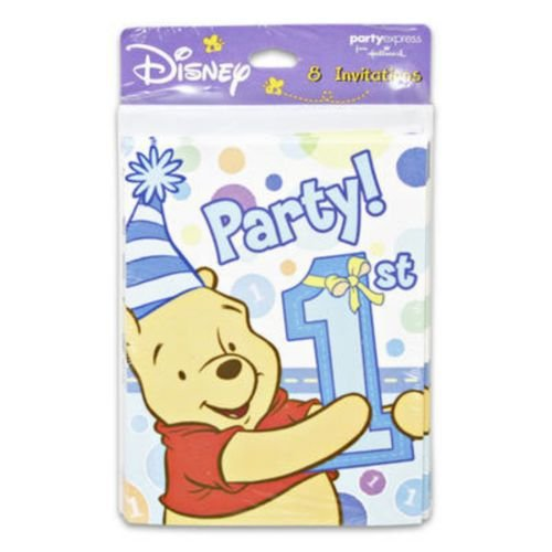 Pooh's 1st Boy Invitations - Pooh's 1st Boy Invitations Package of 8 - Party Supplies & Clearance Birthday (Supplies Clearance Party)