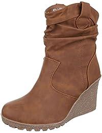 Keilstiefeletten Damen Schuhe Plateau Keilabsatz/ Wedge Warm Gefütterte Ital-Design Stiefeletten