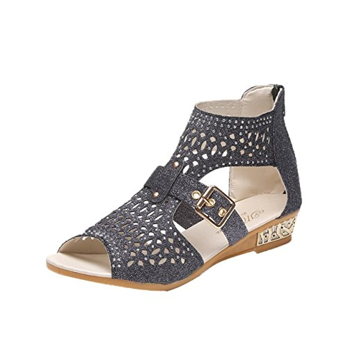 LHWY Damen Keil Sandalen Fashion Fish Mund Pumps Hollow out shoes Black
