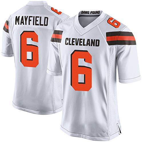 Ghuajie5hao NFL Cleveland Browns 6# Fußballfans Trikot Rugby-Anhänger Kurzarm Herren lässig atmungsaktiv V-Ausschnitt Kurzarm für Training Sportswear,Weiß,L