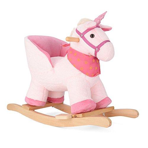 Pink Unicorn Rocking Horse Plush Animal Rocker With Seat