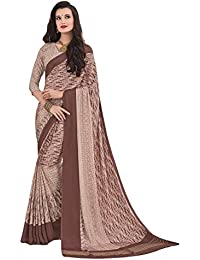 Salwar Studio Women's Rose Beige Crape Silk Self Printed Saree With Blouse Piece-ADAA-6415