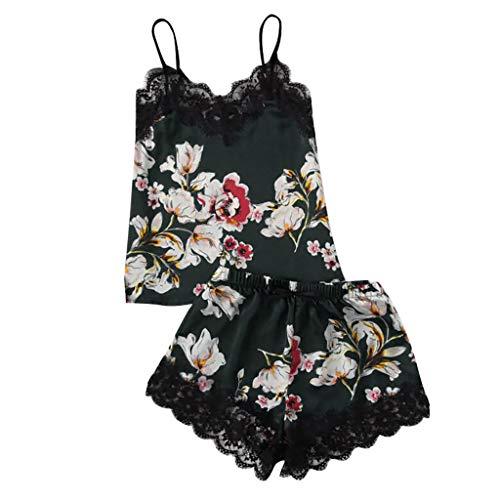 igee V-Ausschnitt Babydoll Damen Dessous Set Elegante Blüht Nachthemd Negligee Nachtwäsche Sling Lingerie Nachtwäsche ()
