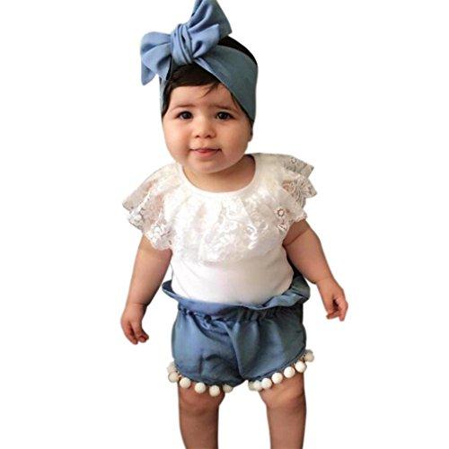 Säugling Kinder Baby Mädchen Spitze T-Shirt Tops Shorts Hosen Outfits Kleider Set für 0,5 bis 2 Jahre altes Mädchen (Größe: 1 Jahre alt) (Baby Verkleiden Outfits)