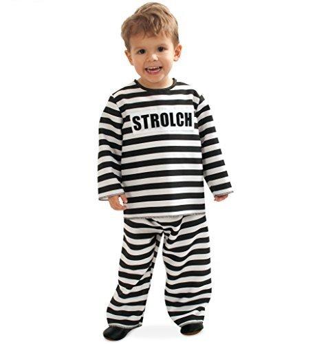 KarnevalsTeufel Kinderkostüm Kleiner Strolch, Oberteil mit Hose schwarz-weiß gestreift (92)