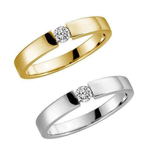 Verlobungsring 375 9 Karat Gelb oder Weißgold Antrag-Ring alle Größen von 48 bis 62