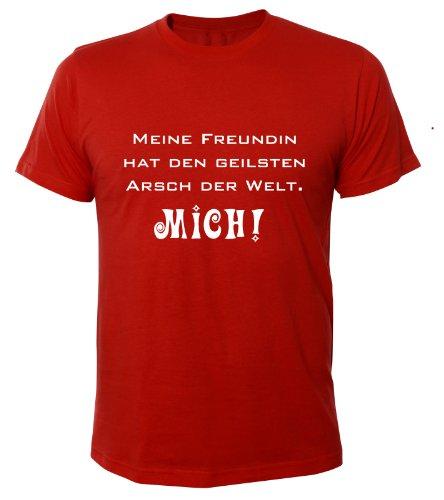 Mister Merchandise Cooles Fun T-Shirt Meine Freundin hat den geilsten Arsch der Welt Rot