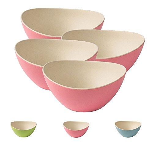 BIOZOYG 4 Bols à céréales colorés Bambou I Bols à Salade, Bols Creux réutilisables, respectueux de l'environnement, sans BPA I Ensemble Bols Bambou Ovale 14 x 15,5 cm Nature Blanc Rose