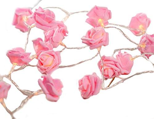 20er LED Rosen Lichterkette pink batteriebetrieben hier kaufen