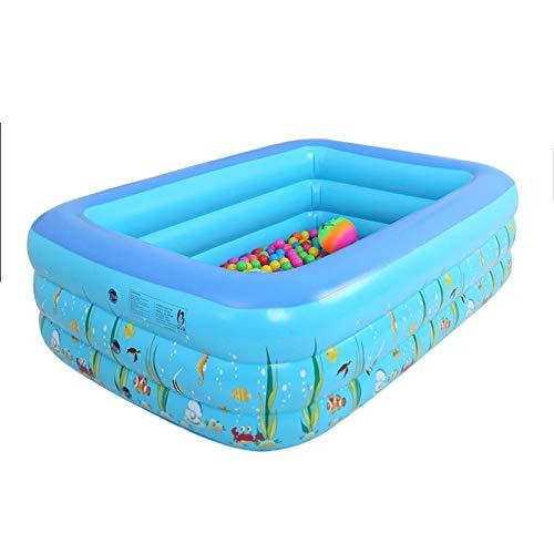pinshun Rechteckiges Familien Aufblasbares Kinderbecken in verschiedenen Größen Baby badebecken Ocean Family @ 120x90x36 cm Aufblasbares Planschbecken