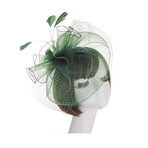 OdeJoy Frau Blume Mesh Bänder Gefieder Stirnband Cocktail Mini Kopfbedeckungen, Elegant Gefiedert Blumen Kopfbedeckungen, Hochzeit SchmuckCocktail Verein Kopfbedeckungen (Grün, 1 PC)
