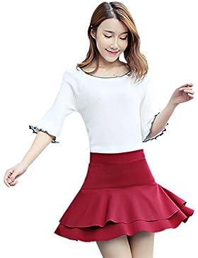 eb7e2bd1de KINDOYO Nueva moda falda corta de cintura alta de mujer falda corta de  doble dobladillo
