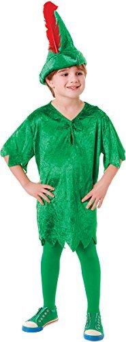BOYS GREEN PETER PAN CHRISTMAS FANCY DRESS (Pan Deluxe Peter Kostüme Kind)