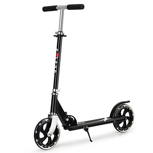 Gosfun City Roller Scooter für Erwachsene Roller Tretroller Kinder ab 5 Jahre mit Klappbarer und Höhenverstellbar, große PU räder Cityroller Max bis 75kg Schwarz