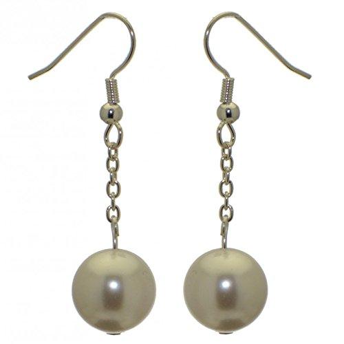 CHERRIES UNO Silber vergoldet weiß faux Perle Haken Ohrringe (Gras Faux)
