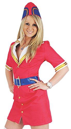 Pilotin Pink Fly Kostüm Stewardess Flugbegleiterin Damen Gr. 42
