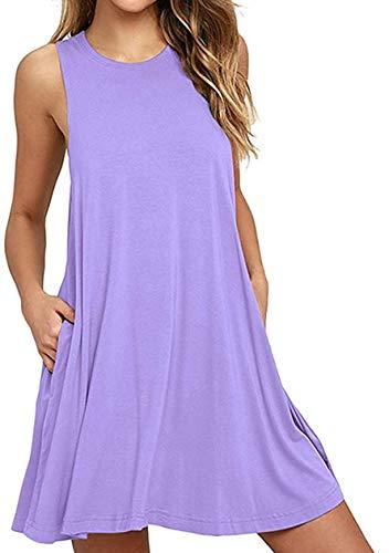 OMZIN Damen Oversized Tank Shirt Kleid Casual Swing Leger Kleid,Hellviolett, M