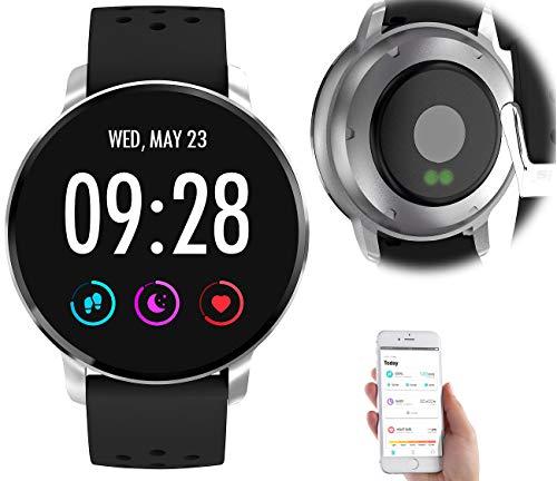 newgen medicals Pulsuhr ohne Brustgurt: Fitness-Uhr mit Herzfrequenz-Messung, Bluetooth, Edelstahl, IP67 (Fitness-Laufuhr)