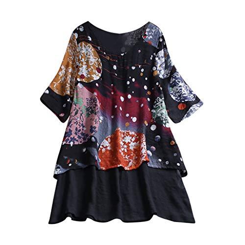 Zegeey Damen T-Shirt GroßE GrößEn Blumenfarbe Kurzarm Rundhals Shirts Bluse Top Oberteil Baumwoll Leinen Tunika Schicker Elegant LäSsige Lose(X9-Schwarz,EU-46/CN-3XL) -