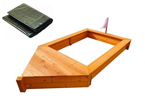 Coemo Sandkasten Boot-Form Braun Natur inkl Abdeckplane Piraten-Schiff Holz Holzsandkasten Stauraum