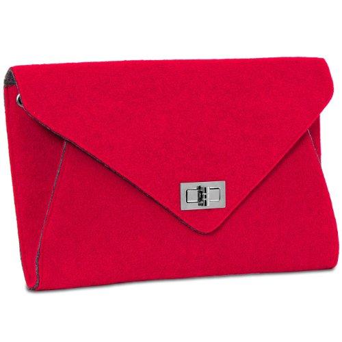 Pochette In Feltro Con Busta Donna Caspar Con Tracolla - Molti Colori - Ts591 Rosso