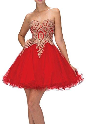 Charmant Damen Rot Attraktive Spitze Applikation Cocktailkleider Kurz Abendkleider Mini Ballkleider Aus Tuell Rot