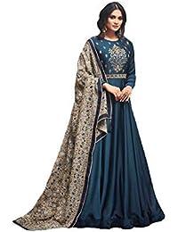 MONIKA SILK MILL Women's Silk Dress Material (MSMFMohini 49001_Blue_Free Size)
