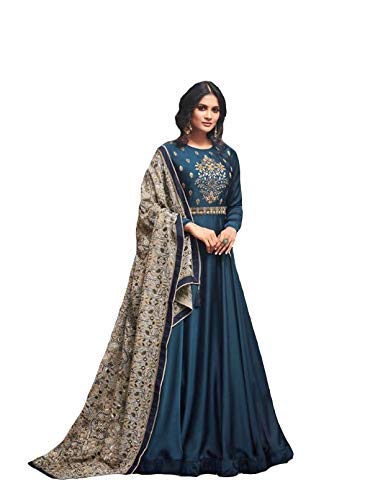 Monika Silk Mill Women\'s Latest Blue & Grey Silk Embroidered Wedding Collection Festival Wear Traditional wear Party wear Anarkali Salwar Suit Dress materials